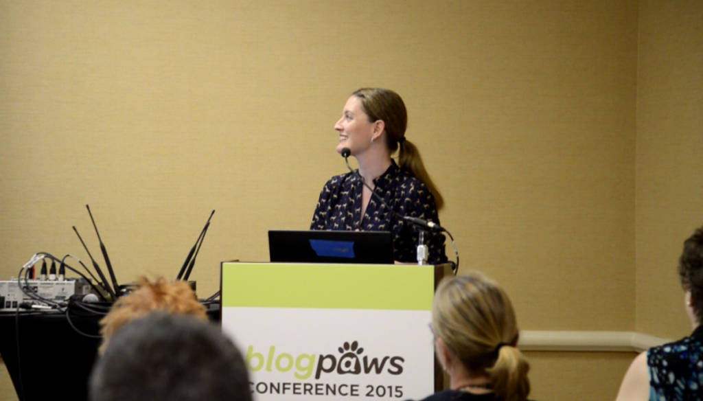 Maggie Marton speaking at BlogPaws